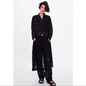 Zara LACE TUNIC WITH POCKET Black M